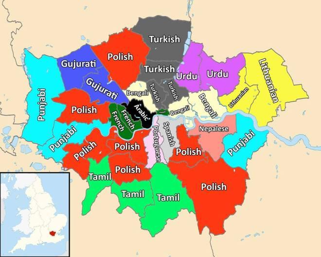 Najczęściej używane po angielskim języki w Londynie