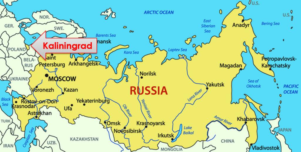 Mapa Polski i Rosji
